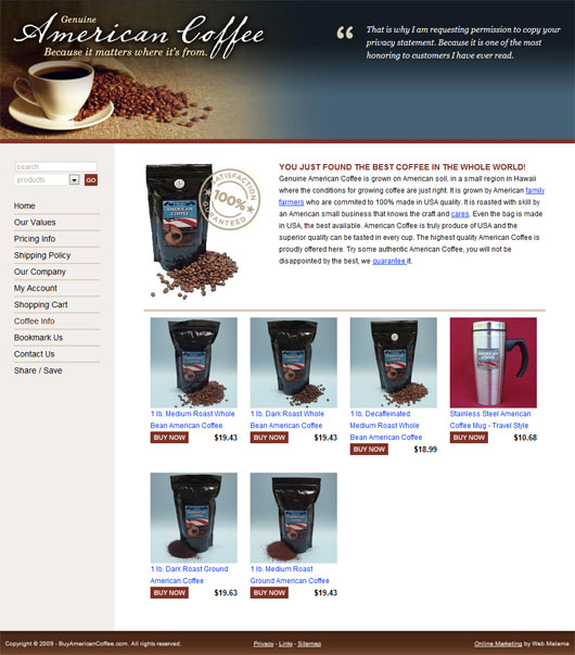 American Coffee SEO Rankings Small