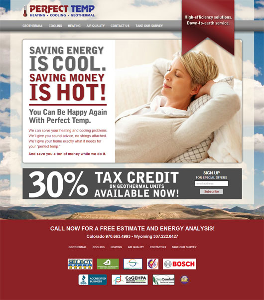 Perfect Temp HVAC Web Design