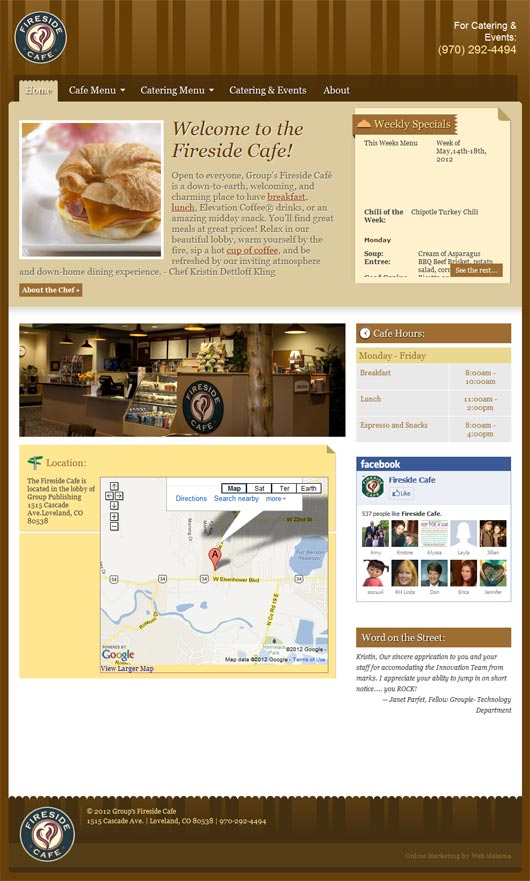 Fireside Cafe Web Design